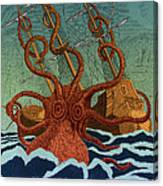 Colossal Octopus Attacking Ship 1801 Canvas Print