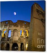 Colosseum And The Moon Canvas Print