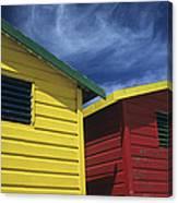 Coloured Beach Huts Canvas Print
