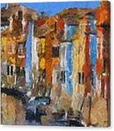 Coloured Houses On Burano Canvas Print