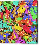 Coloured Oak Leaves By M.l.d. Moerings 2009 Canvas Print