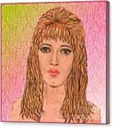 Coloured Pencil Self Portrait Canvas Print