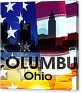 Columbus Oh Patriotic Large Cityscape Canvas Print