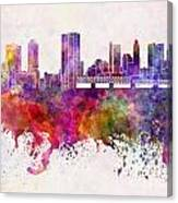 Columbus Skyline In Watercolor Background Canvas Print