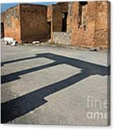 Column Shadows Forum At Pompeii Italy Canvas Print