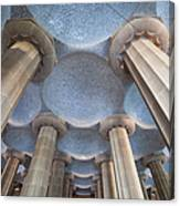 Columns And Domes Of Hypostyle Room In Park Guell Canvas Print