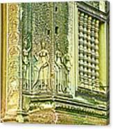 Columns And Hindu Devatas At Angkor Wat In Angkor Wat Archeological Park Near Siem Reap-cambodia Canvas Print