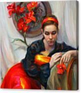 Common Threads - Divine Feminine In Silk Red Dress Canvas Print