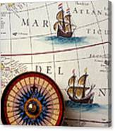 Compass And Old Map With Ships Canvas Print