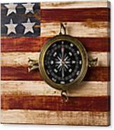 Compass On Wooden Folk Art Flag Canvas Print