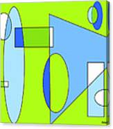 Composition In Chartreuse And Blue Canvas Print