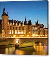 Conciergerie Twilight - River Seine Canvas Print