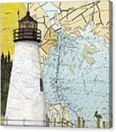 Concord Pt Lighthouse Md Nautical Chart Map Art Cathy Peek Canvas Print