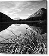Cone Shaped Mountain Reflected In Lake At Sunset Canvas Print