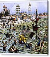 Coney Island Beach And Boardwalk Canvas Print