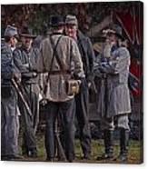 Confederate Civil War Reenactors With Rebel Confederate Flag Canvas Print