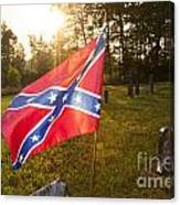 Confederate Flag In An Old Cemetery Canvas Print