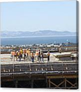 Construction Continues On The Last Few Feet Of The New Oakland Bay Bridge Canvas Print