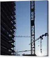 Construction Cranes In Backlit Canvas Print