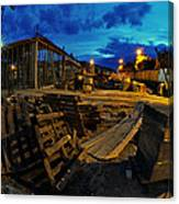 Construction Site At Night Canvas Print