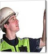 Construction Worker In Safety Jacket Canvas Print