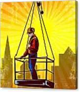 Construction Worker Platform Retro Poster Canvas Print