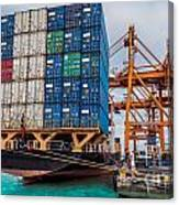 Container Cargo Freight Ship With Working Crane Loading Canvas Print