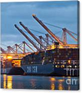 Container Ships Docked In Port Of Oakland Canvas Print