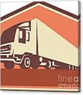Container Truck And Trailer Flames Retro Canvas Print