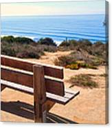 Contemplation Bench At The Oceans Edge Canvas Print