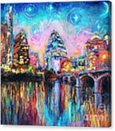 Contemporary Downtown Austin Art Painting Night Skyline Cityscape Painting Texas Canvas Print