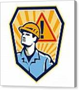 Contractor Construction Worker Caution Sign Retro Canvas Print