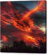 Contrails And Sunset Canvas Print