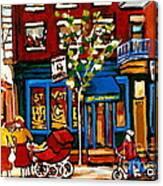 Conversation At St Viateur Bagel Paintings Mehadrin Kosher Deli Authentic Vintage Montreal Cspandau Canvas Print