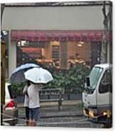 Conversation In The Rain Canvas Print
