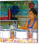Cooking In The Marketplace In Tachilek-burma Canvas Print