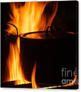 Cooking Pot On Fire Finland Canvas Print