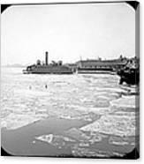 Cooper's Point Barge Hudson River C 1900 Canvas Print