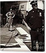 Cop And Girl - Mirror Image - New York City Street Scene Canvas Print