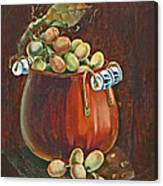 Copper Kettle Of Grapes Canvas Print