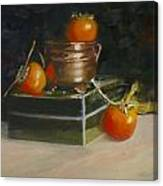 Copper Pot And Persimmons Canvas Print