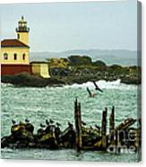 Coquille River Lighthouse And Birds Canvas Print