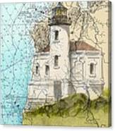 Coquille River Lighthouse Or Nautical Chart Map Art Cathy Peek Canvas Print