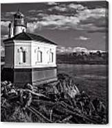 Coquille River Lighthouse Upriver Bw Canvas Print
