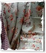 Coral Rose Quilt With Quote Canvas Print