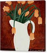 Coral Tulips In A Milk Pitcher Canvas Print