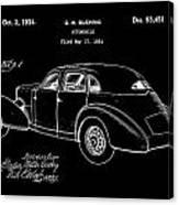 Cord Automobile Patent 1934 - Black Canvas Print
