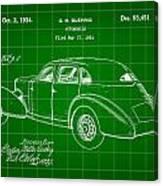 Cord Automobile Patent 1934 - Green Canvas Print
