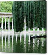 Corinthian Colonnade And Pond Canvas Print