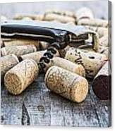 Corks With Corkscrew Canvas Print